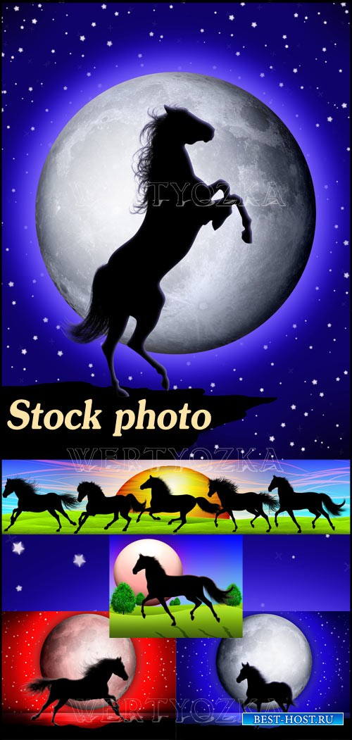 Лошади на фоне луны и ночного неба / Horses on the background of the moon a ...