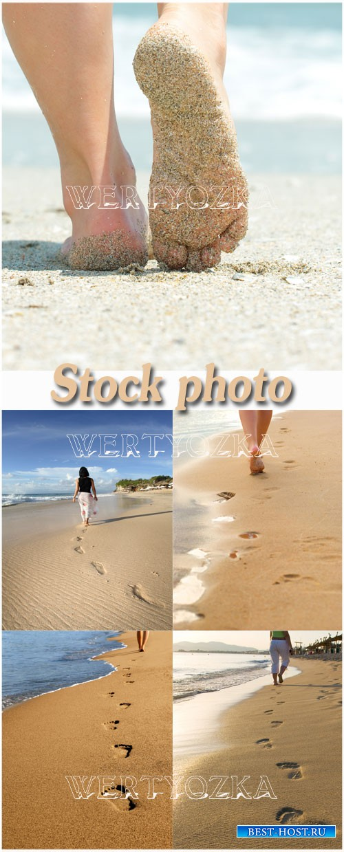 Следы на морском песке / Girl on the beach, footprints in the sand