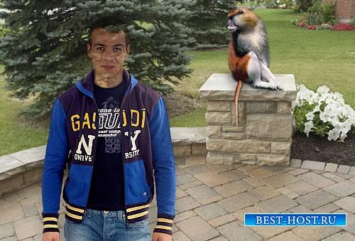 Мужской шаблон для фотошопа - Парень и обезьянка