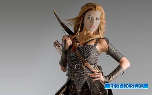 Женский шаблон - Девушка в кольчуге с луком и стрелами