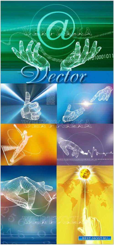 Креативные растровые фоны с изображением рук