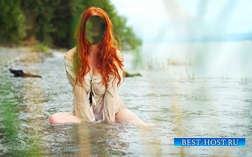 Женский шаблон - Рыжая девушка в речке
