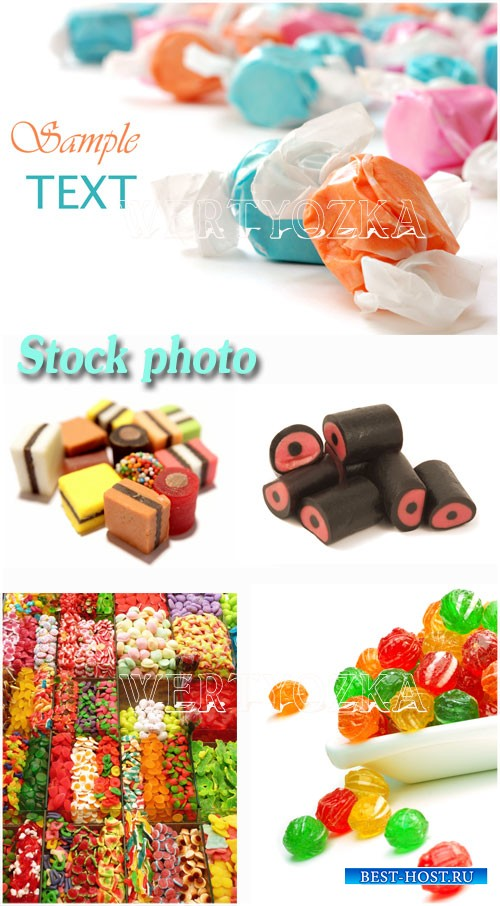 Конфеты, карамель, леденцы / Candy, caramel and sweets - Raster clipart