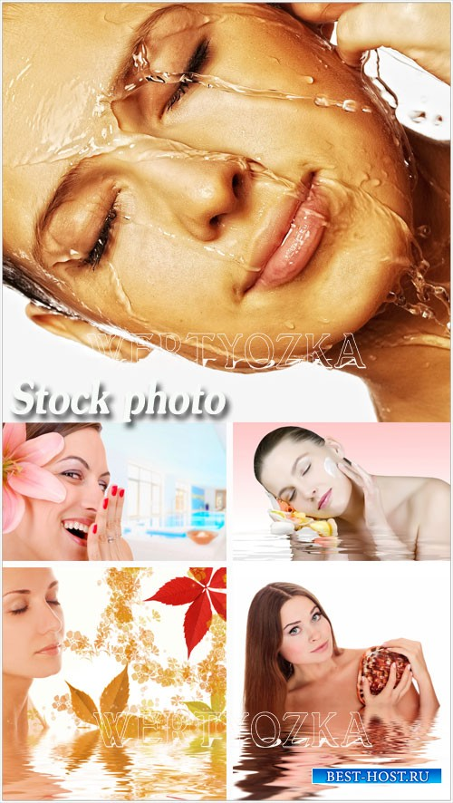 Девушки и спа процедуры - растровый клипарт / Girls and spa procedure