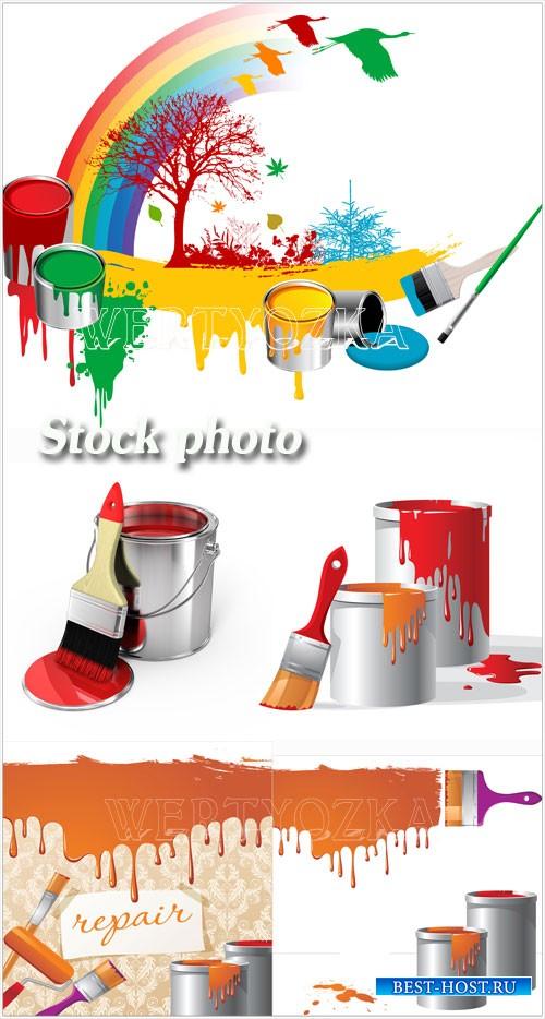 Краска, банки с краской / Paint, paint cans and brushes
