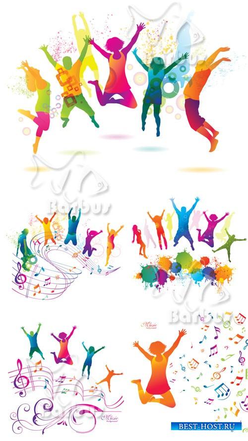 Active Jumping and Dancing People / Активные цветные прыгающие и танцующие  ...