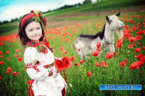 Детский шаблон - Маленькая девочка с козочкой