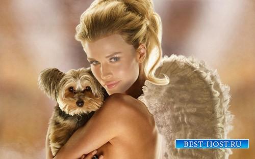Шаблон для девушек - Блондинка с крыльями ангела и собакой