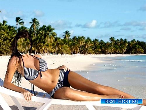 Женский шаблон - Девушка в купальнике на пляже