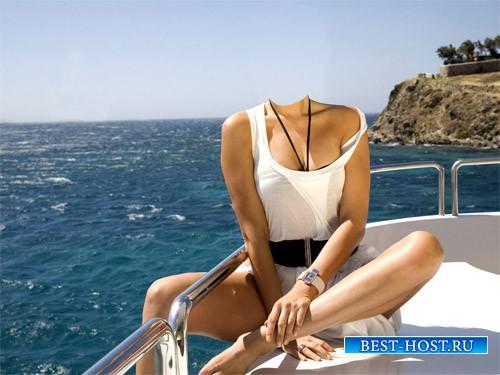 Шаблон для фотомонтажа - Прогулка на катере в море