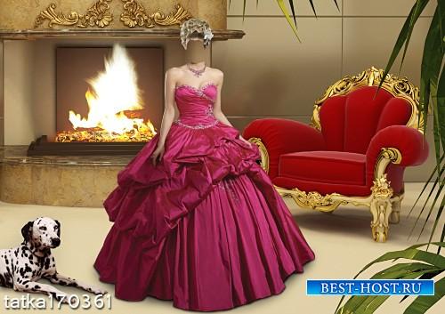 Женский шаблон - Девушка в малиновом платье с собакой