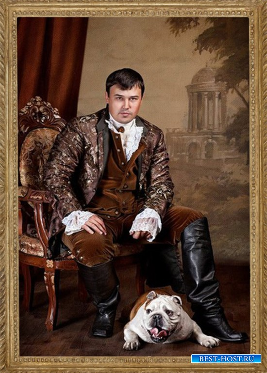 Шаблон мужской - Портрет с собакой