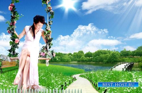 Романтический PSD исходник - Зелёная долина