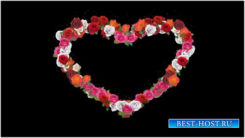 Футаж с альфаканалом - Сердце из роз
