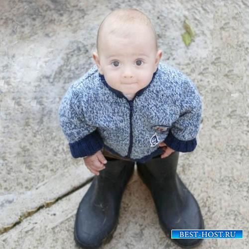 Детский шаблон - В резиновых сапогах