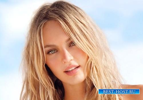 Шаблон для фотошопа - Блондинка в купальнике на море