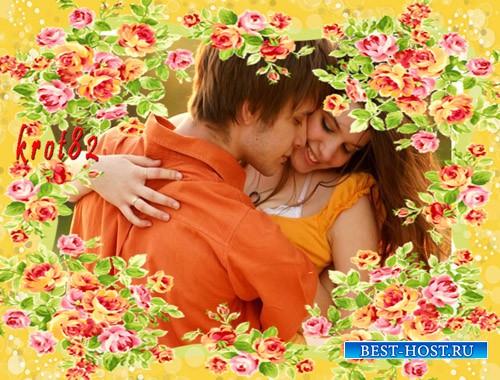 Цветочная фоторамка для фото – Яркий аромат роз