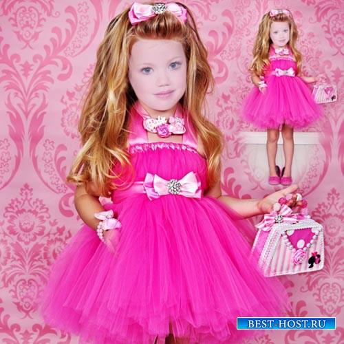Шаблон для мальчиков - Малышка в ярком розовом платье