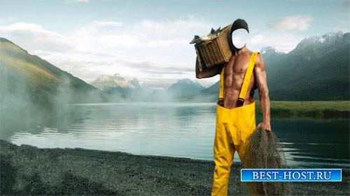 Шаблон для photoshop - Рыбак с уловом