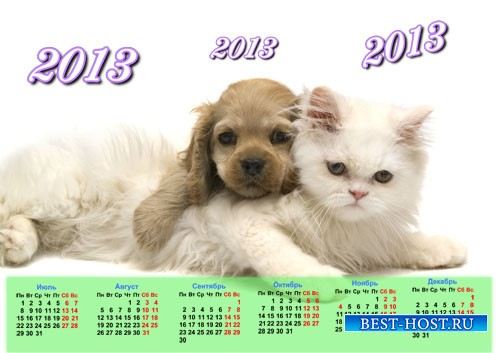 Календарь на 2013 год - Кошечка и собачка