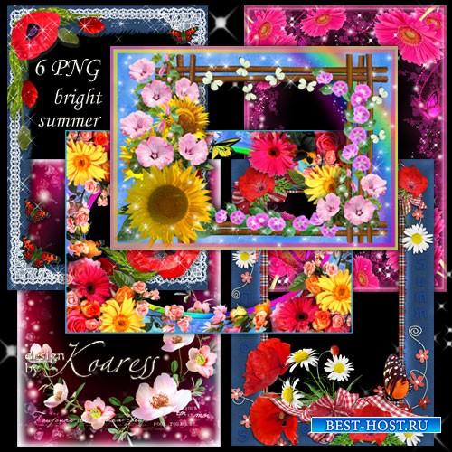 Набор из 6 цветочных рамок для летних фото - Яркие летние цветы