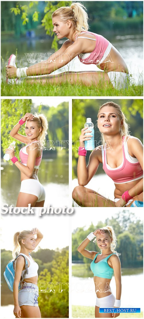 Девушка занимается спортом / The girl is engaged in sports - Raster clipart