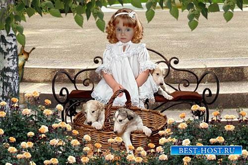 Детский шаблон для фотошопа - Девочка в саду