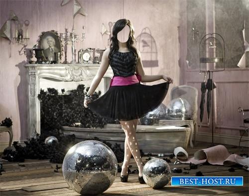 PSD шаблон - Музыкальная фотосессия девушка среди дискотечных шаров