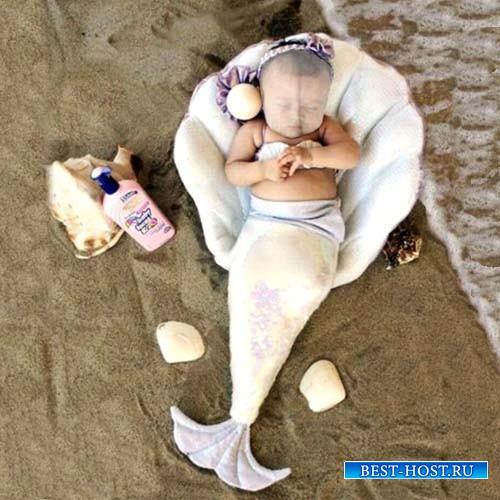 Шаблон для фото - Русалочка отдыхает у моря