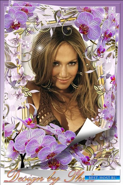 Рамка для фото с орхидеями - Среди цветов, как будто нимфа