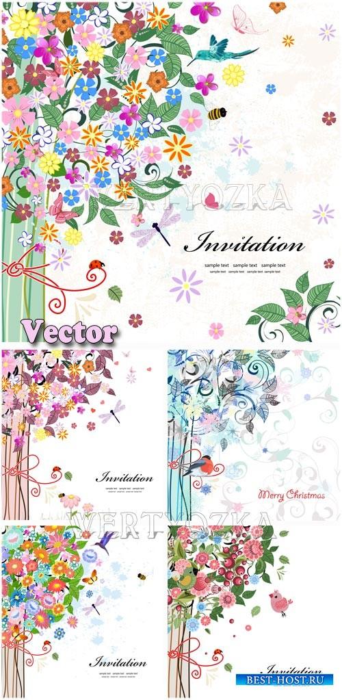 Фоны с яркими цветами для пригласительных / Backgrounds with bright colors  ...