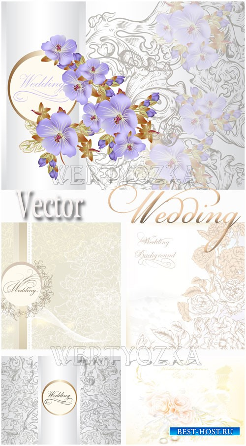 Свадебные фоны с цветами / Wedding backgrounds with flowers - vector clipar ...