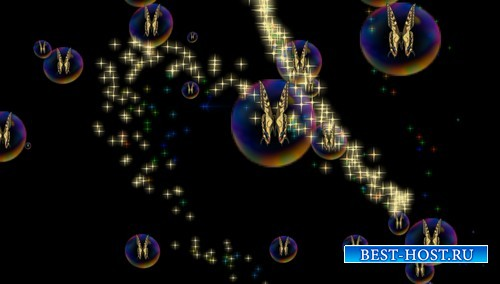 HD футаж Бабочки в мыльнх пузырях