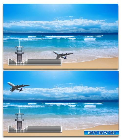 Футаж MOV улетающий самолёт