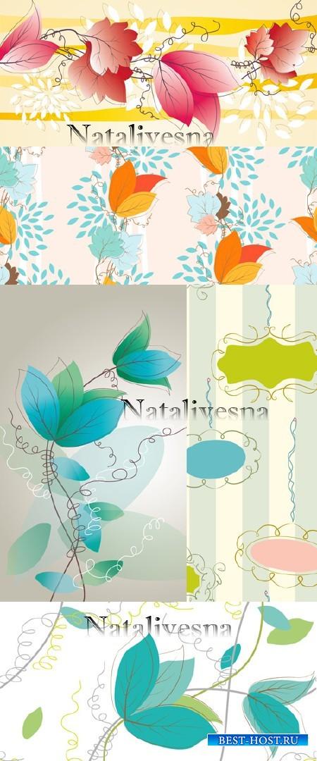 Цветочные фоны в Векторе # 4  / Flower backgrounds in Vector # 4