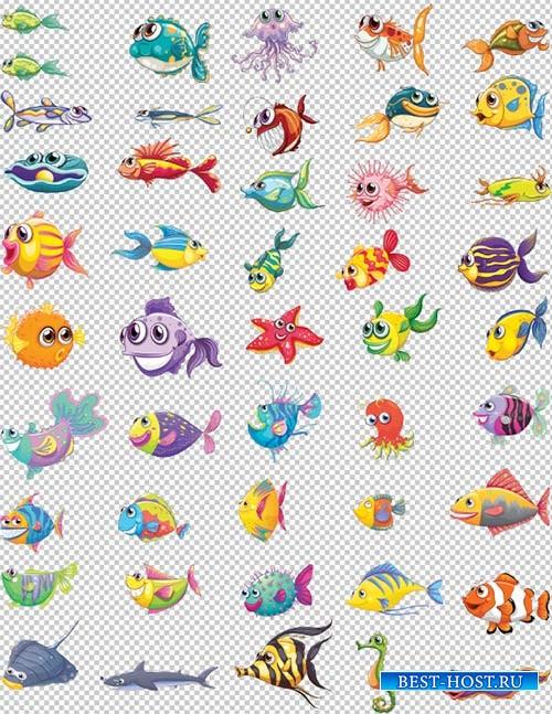 Клипарт - Красивые мультяшные рыбы на прозрачном фоне