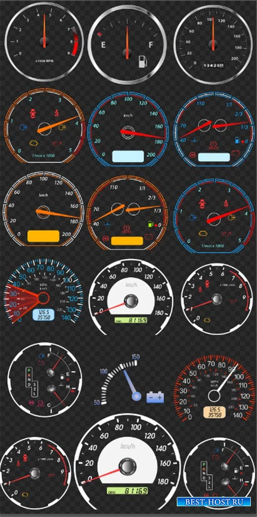 Клипарт - Спидометры тахометры все датчики транспорта на прозрачном фоне