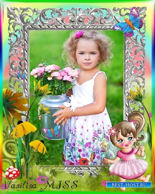Детская фоторамка для девочки с подсолнухами, бабочками и феей - Маленькая  ...