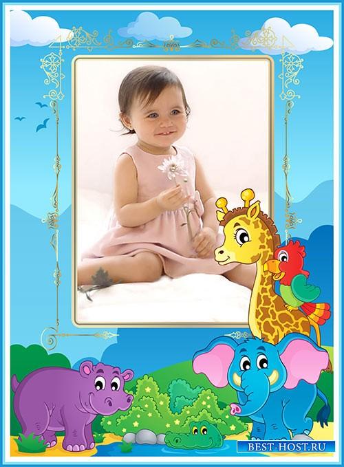 Детская фотошоп рамка с мультяшными животными