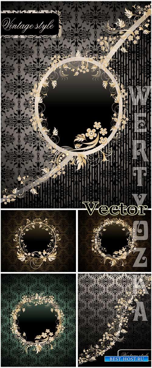 Векторные фоны с золотым узором и цветочками / Dark vector background with  ...