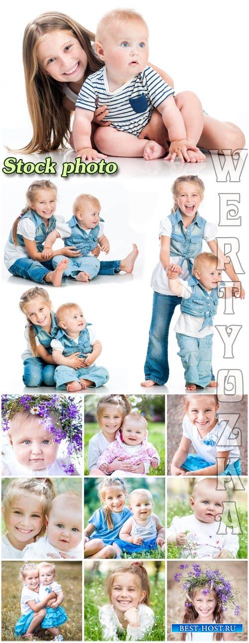 Дети, мальчик и девочка / Children, boy and a girl - raster clipart