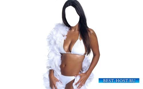 Шаблон для фотошопа - Девушка с белыми перьями в белом купальнике
