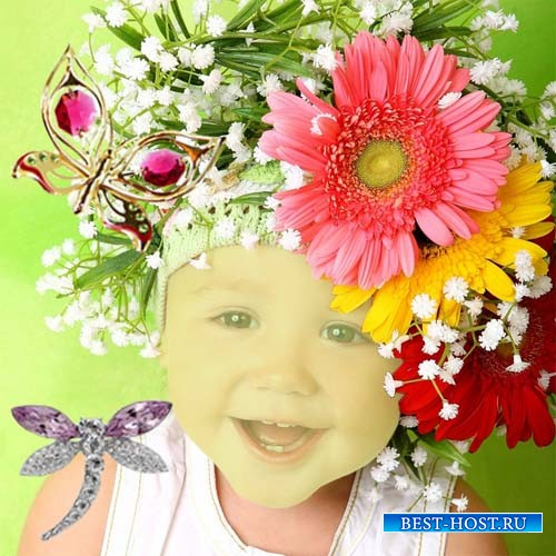 Шаблон для девочек - Крошка в красивых цветах