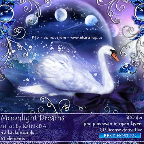 Яркий симпатичный скрап-комплект - Завораживающий лунный свет