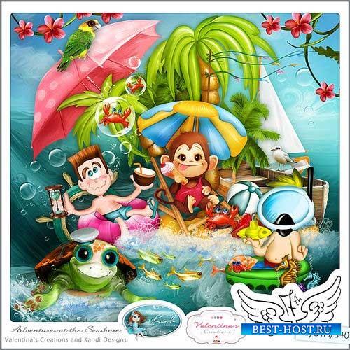 Яркий морской скрап-комплект - Приключения на берегу моря