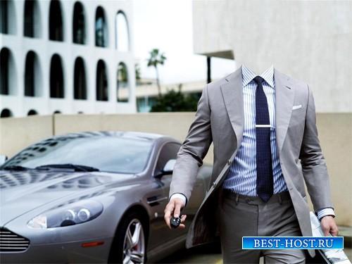 Шаблон для фотошопа - Миллионер в костюме на хорошем авто