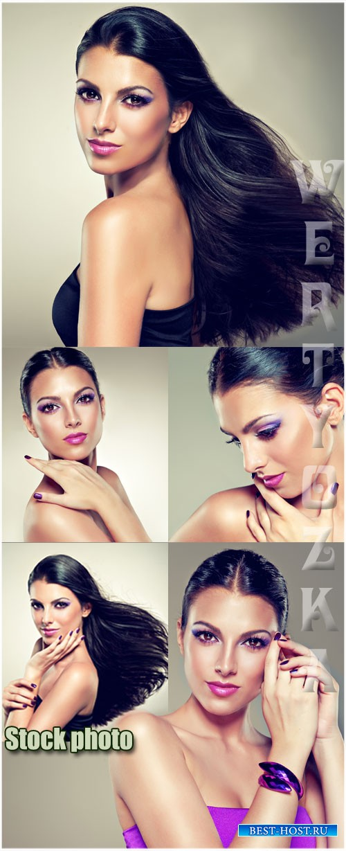 Девушка с красивым макияжем / Girl with beautiful make-up - Raster clipart