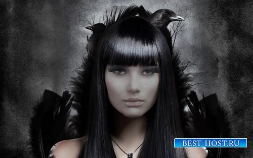 Шаблон для девушек - Таинственная брюнетка и вороны