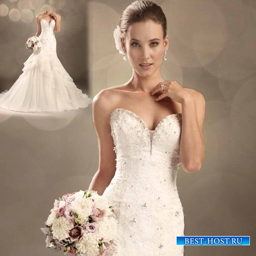 Шаблон для девушек - Красивая невеста в свадебном платье