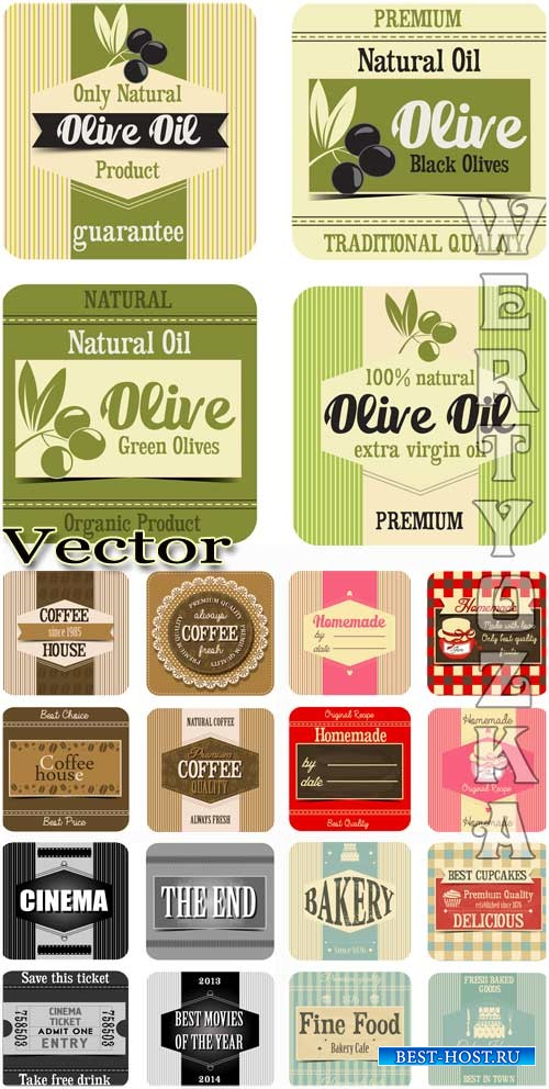 Продуктовые этикетки - векторный клипарт / Food labels - vector clipart